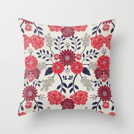 Sophisticated Red, Navy Blue & Gray Floral Pattern Throw Pillow