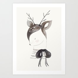 Cute Fawn with Bow Art Print