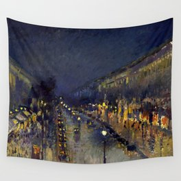 "Camille Pissarro ""The Boulevard Montmartre at Night""(1897) Wall Tapestry"