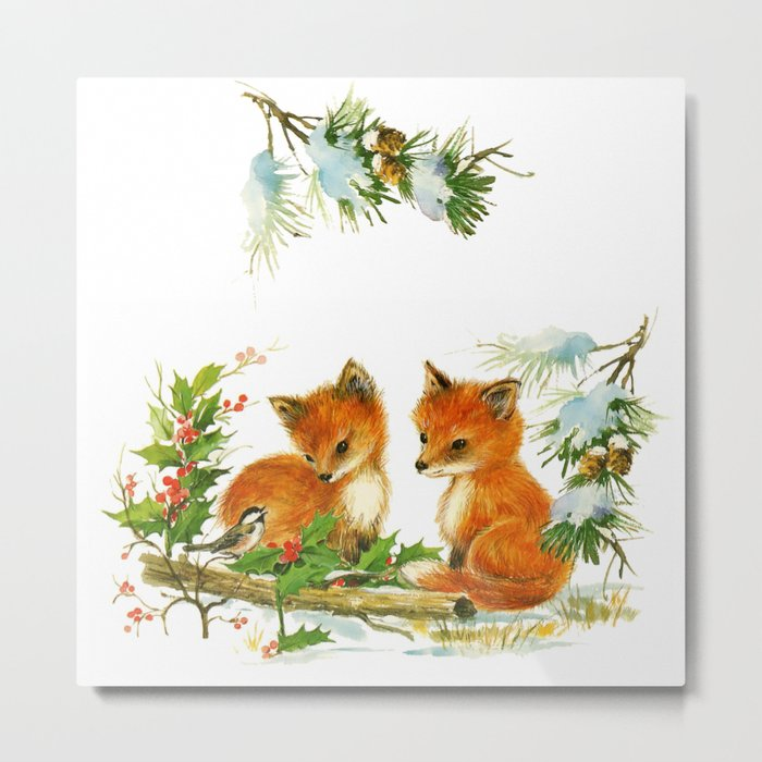Vintage dream- little Winterfoxes in snowy forest Metal Print