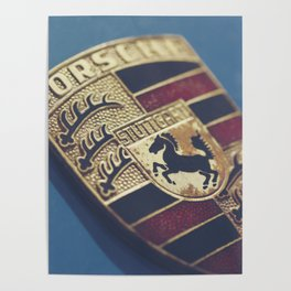 Porshe crest, macro photography for sport car wall art and mancave decor, 911, 912 german auto Poster