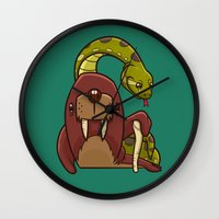 anaconda Wall Clocks featuring The Walrus and the Anaconda by Artistic Dyslexia