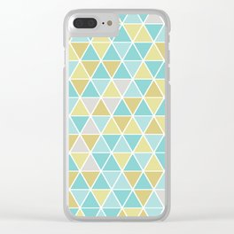 Triangulation (blue and green) Clear iPhone Case