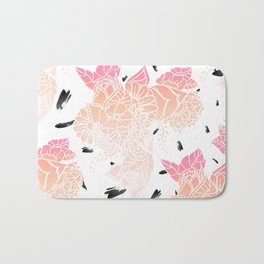 Modern pink ombre coral watercolor floral illustration pattern black brushstrokes Bath Mat