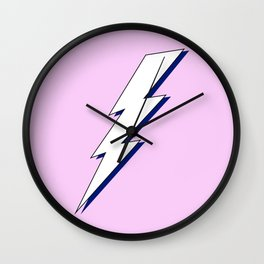 Just Me and My Shadow Lightning Bolt - Pink White Blue Wall Clock