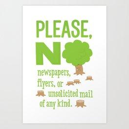 No Junk Mail Sign Art Print