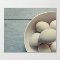eggs Canvas Prints featuring eggs by messy bed studio