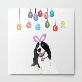 Happy Easter Bunny - Springer Spaniel dog Metal Print