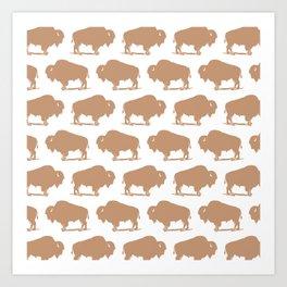 Buffalo Bison Pattern 269 Beige Art Print