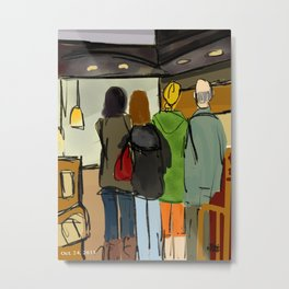 Coffee Shop - Waiting in Line  Metal Print