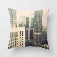 Chicago River Marina Tower Color Photo Throw Pillow