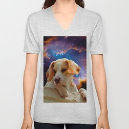 beagle puppy on the wall looking at the universe Unisex V-Neck