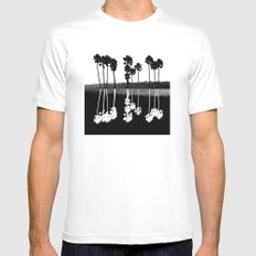 Palm Tree Reflection Mens Fitted Tee SMALL White