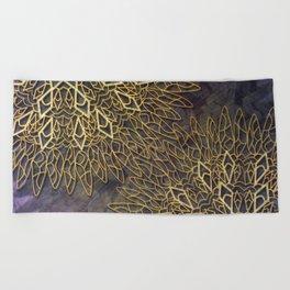 Gold Mandalas on Violet Background Beach Towel