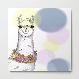 Loveable Llama Metal Print