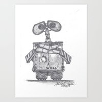 wall e Art Prints featuring Wall E by Michelle Zombie