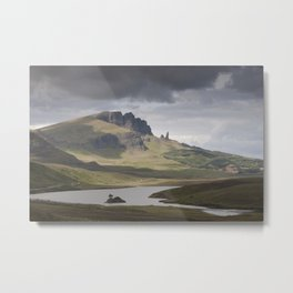 The Storr including Old Man of Storr, Isle of Skye and the Loch Leathan, Scotland Metal Print