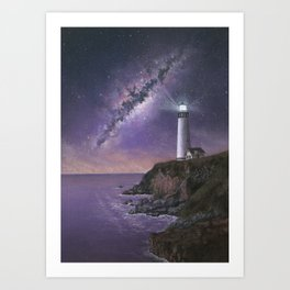 Lighthouse under the Milky Way Art Print