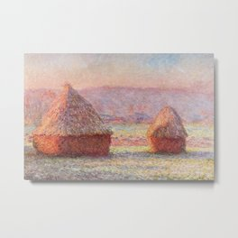 White Frost, Sunrise by Claude Monet Metal Print