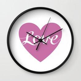 Love Script Pink Heart Design Wall Clock