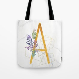 Modern glamorous personalized gold initial letter A, Custom initial name monogram gold alphabe Tote Bag