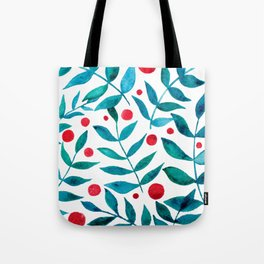 Watercolor berries and branches - turquoise and red Tote Bag