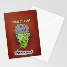 Zombie Brains Stationery Cards