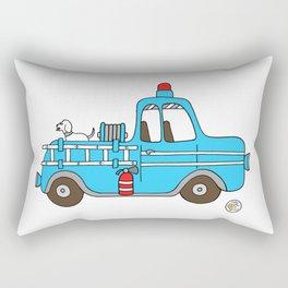 firetruck blue vintage fire truck Rectangular Pillow
