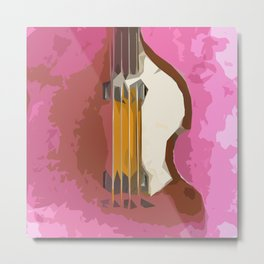 Guitar Bass red back Metal Print