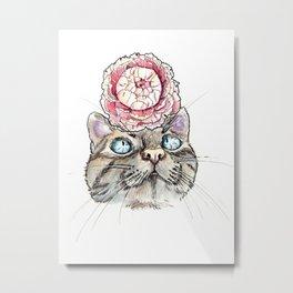 Peony Cat Metal Print