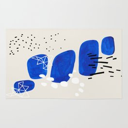 Fun Mid Century Modern Abstract Minimalist Phthalo Blue Stacked Pebbles Indigenous Art Rug