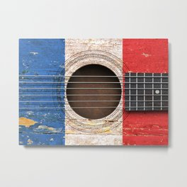 Old Vintage Acoustic Guitar with French Flag Metal Print