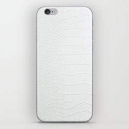 Realistic White Crocodile Skin Print iPhone Skin