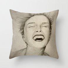 laughing girl Throw Pillow