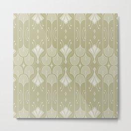 Art Deco Botanical Flower Shapes - Summer Green Metal Print