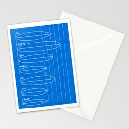 Surfboard shapes blueprint Stationery Cards