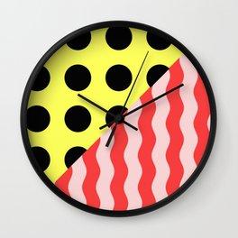 Polka Waves - black and yellow polka dots and red and pink waves Wall Clock