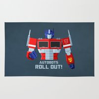 optimus prime Area & Throw Rugs featuring Autobots, Roll out! (Optimus Prime) by DWatson