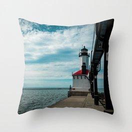 Michigan City East Pierhead Lighthouse and Catwalk Lake Michigan Light Station Throw Pillow