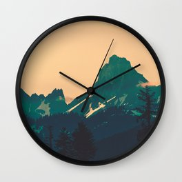 Cascade Mountains Sunset Wall Clock