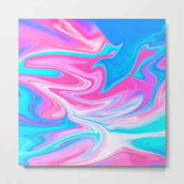 Modern abstract pink turquoise blue bright marble effect Metal Print