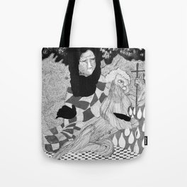 Jesus and Mary - Abstract Ink Drawing Tote Bag