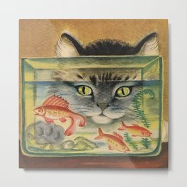 Cat Looking at Goldfish Vintage Art Metal Print