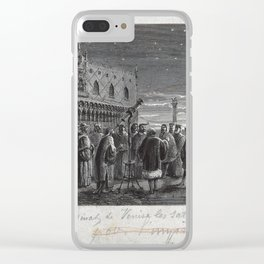 Galileo with his telescope in the Piazza San Marco, Venice Clear iPhone Case