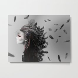 Fighting Feathers Metal Print