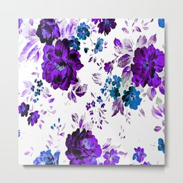 ROSES PURPLE AND BLUE Metal Print