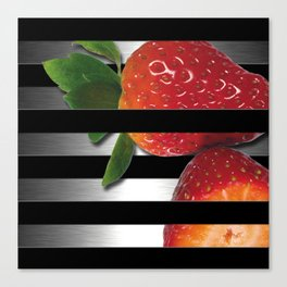 Black & Silver Overlapping Stripes & Strawberries Canvas Print