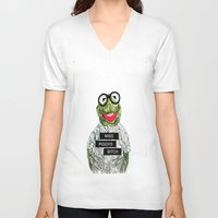 kermit V-neck T-shirts featuring Kermit The Frog by Doodalily Illustrations