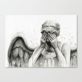 Weeping Angel Watercolor Painting Canvas Print