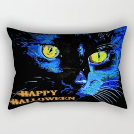 Black Cat Portrait with Happy Halloween Greeting  Rectangular Pillow